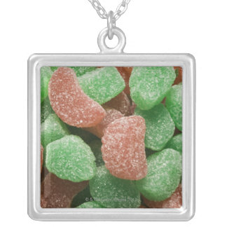 Green and red sugared candies silver plated necklace