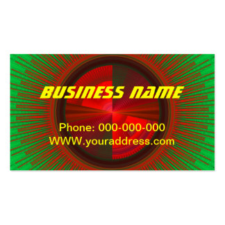 Green And Red Tech Disc Fractal Pattern Double-Sided Standard Business Cards (Pack Of 100)