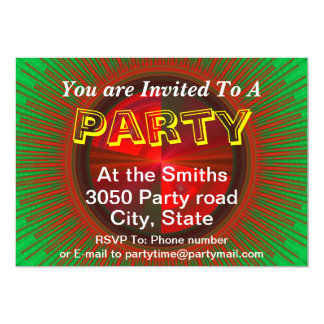 Green And Red Tech Disc Fractal Pattern Personalized Invite
