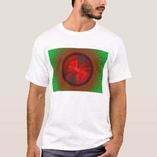 Green And Red Tech Disc Fractal Pattern T-Shirt