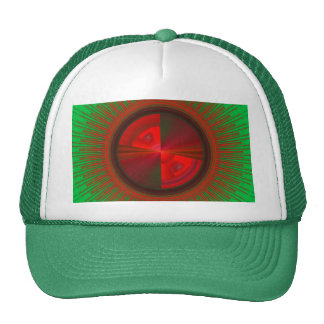 Green And Red Tech Disc Fractal Pattern Trucker Hat