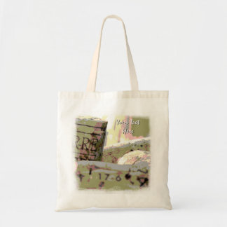 Green and Red Toned Wine Corks Custom Budget Tote Bag