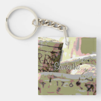 Green and Red Toned Wine Corks Custom Acrylic Keychain