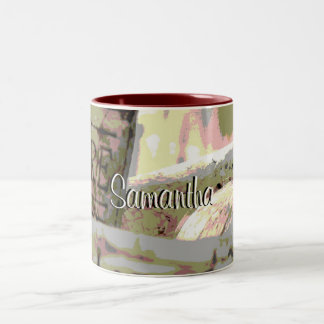 Green and Red Toned Wine Corks Personalized Two-Tone Coffee Mug