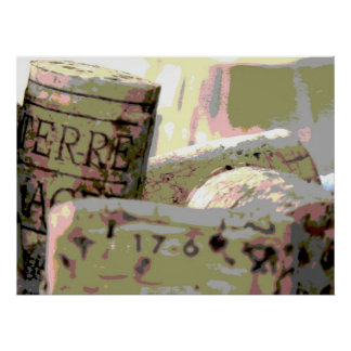 Green and Red Toned Wine Corks Posters