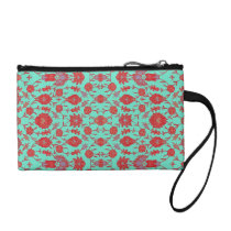 Green and Red Vintage Floral Pattern Coin Wallet