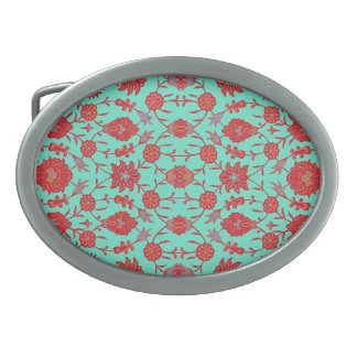 Green and Red Vintage Floral Pattern Oval Belt Buckle