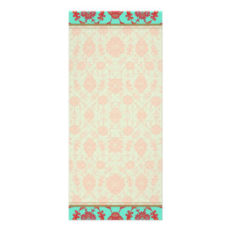 Green and Red Vintage Floral Pattern Rack Card