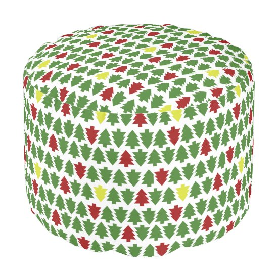 Green and RedChristmas Trees Pattern Pouf - Seat