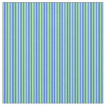 [ Thumbnail: Green and Royal Blue Colored Stripes Pattern Fabric ]