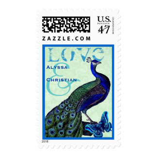 Green and Royal Blue Wedding LOVE Peacock V01 Stamp