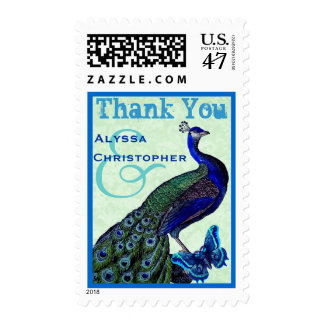 Green and Royal Blue Wedding THANK YOU Peacock V02 Postage