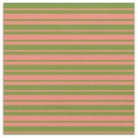 [ Thumbnail: Green and Salmon Colored Lined/Striped Pattern Fabric ]