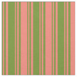 [ Thumbnail: Green and Salmon Colored Striped Pattern Fabric ]