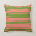 [ Thumbnail: Green and Salmon Colored Striped Pattern Pillow ]