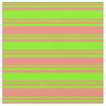 [ Thumbnail: Green and Salmon Striped Pattern Fabric ]