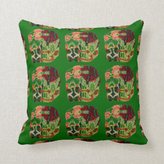 GREEN AND SCARLET ABSTRACT DESIGNER ART WORK THROW PILLOW