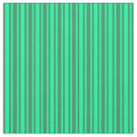 [ Thumbnail: Green and Sea Green Colored Lined Pattern Fabric ]