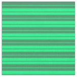 [ Thumbnail: Green and Sea Green Colored Stripes Pattern Fabric ]