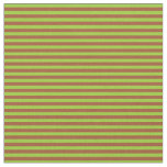[ Thumbnail: Green and Sienna Striped Pattern Fabric ]
