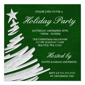 Green and Silver Christmas Tree Holiday Party Invitation