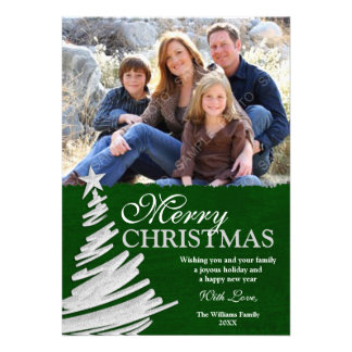 Green and Silver Christmas Tree Holiday Photo Card