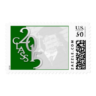 Green and Silver Class of 2015 Graduation Photo Postage