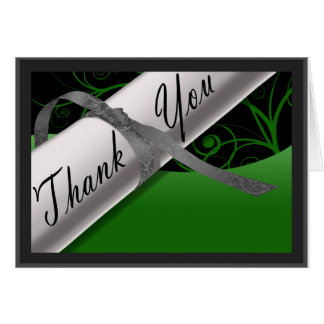 Green and Silver Diploma Thank You Card