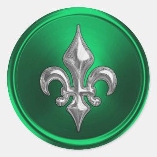 Green and Silver Fleur de Lis Envelope Seal Classic Round Sticker