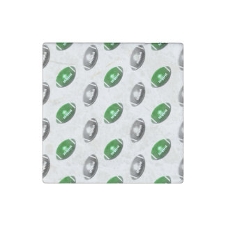 Green and Silver Football Pattern Stone Magnet