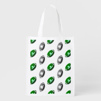 Green and Silver Football Pattern Reusable Grocery Bag