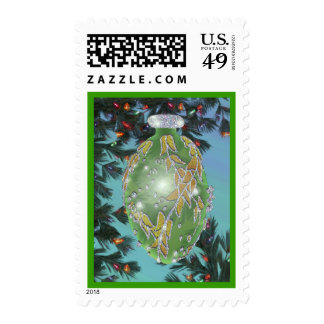 Green and Silver Glass Bulb Stamps