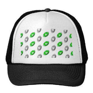 Green and Silver / Gray Football Pattern Trucker Hat
