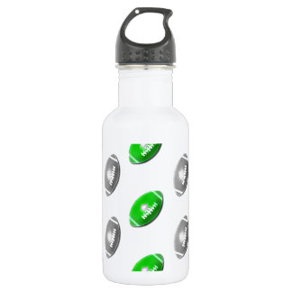 Green and Silver / Gray Football Pattern Water Bottle