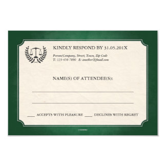 Green and Silver Legal/Law School Graduation RSVP 3.5x5 Paper Invitation Card