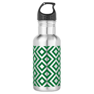 Green and Silver Meander Stainless Steel Water Bottle