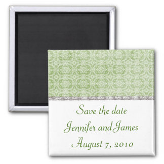 Green and Silver Save the Date Magnet