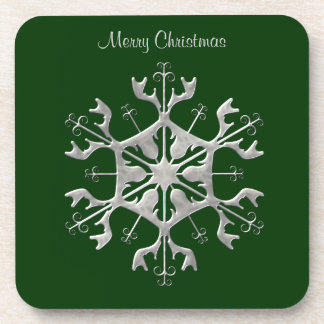 Green and Silver Snowflake Coasters