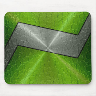 Green and Silver Stainless Steel Metal 2 Mouse Pad