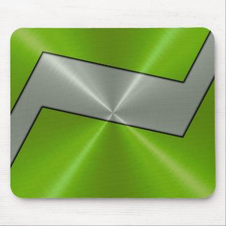 Green and Silver Stainless Steel Metal Mouse Pad