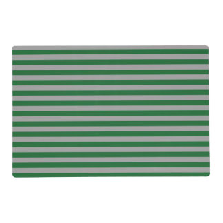 Green and Silver Stripes Laminated Placemat