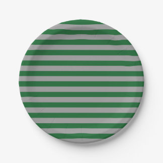 Green and Silver Stripes Paper Plate