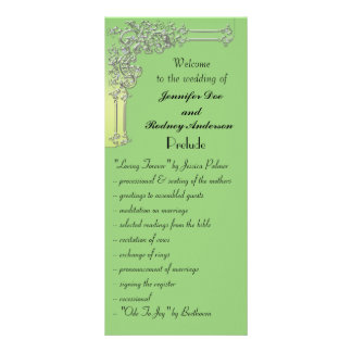 Green and Silver Wedding Program Rack Card