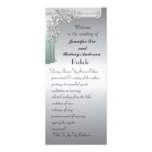 Green and Silver Wedding Program Rack Card