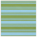 [ Thumbnail: Green and Sky Blue Colored Lined Pattern Fabric ]