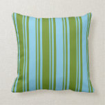 [ Thumbnail: Green and Sky Blue Colored Lined Pattern Pillow ]