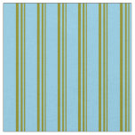 [ Thumbnail: Green and Sky Blue Colored Pattern of Stripes Fabric ]