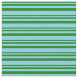 [ Thumbnail: Green and Sky Blue Colored Stripes Pattern Fabric ]