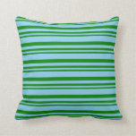 [ Thumbnail: Green and Sky Blue Colored Stripes Pattern Pillow ]
