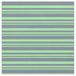[ Thumbnail: Green and Slate Gray Colored Stripes Pattern Fabric ]